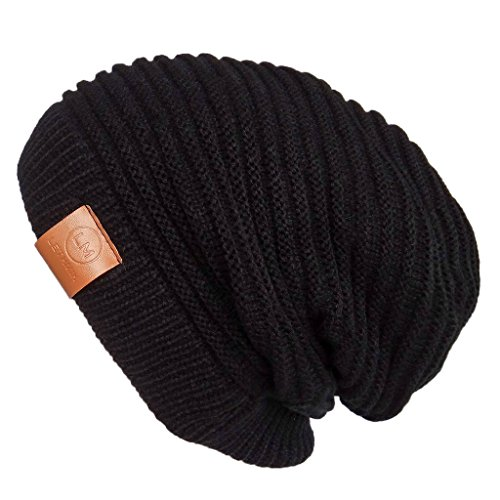 LETHMIK Functional Slouchy Beanie Unisex Skully Hat Warm Infinity Scarf in 3 Colors ,Black,One Size (Elastic)