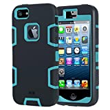 iPhone 5s Case iPhone 5 Case Bumper iPhone SE Case Combo Heavy Duty Three Layers Hybrid Shockproof Scratch-Resistant Rugged Bumper Silicone Protective Cover Cases For iPhone 5 5S SE - Black Blue