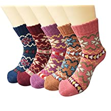 Santwo Women's Soft Warm Crew Socks Wool Thick Winter 5-Pack Mix Colors