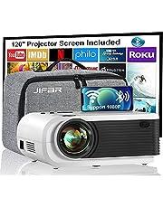 """Proyector WiFi, Mini proyector JIFAR 6500L con pantalla de 120 '', Compatible con Full HD 1080P y 240 """", Sincronizar la pantalla del teléfono inteligente mediante cable WiFi / USB para películas al aire libre, Compatible con TV Stick, HDMI, USB"""