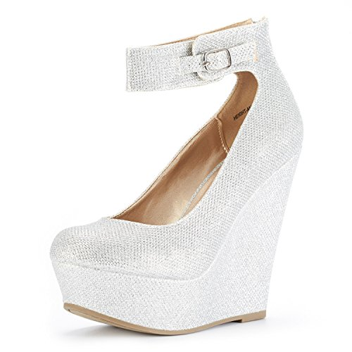 DREAM PAIRS Women's Height-Ankle Silver Glitter Elegant Ankle Strap Rear Zipper Closure Wedge Heel Platform Pumps Shoes Size 8 B(M) - Shoes Platform Pump Ankle Strap