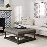 Cocktail Ottoman with Shelf Tufted Ottoman Coffee Table Centerpiece Suitable For Living Rooms. Large Storage Bench Provides Comfort And Functionality. Beige Linen Fabric And Sturdy Wooden Frame In Oak Enhance Your Home Decor.