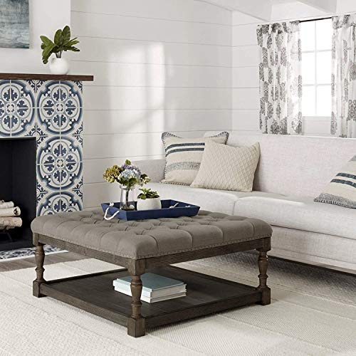 Tufted Ottoman Coffee Table Centerpiece Suitable For Living Rooms. Large Storage Bench Provides Comfort And Functionality. Beige Linen Fabric And Sturdy Wooden Frame In Oak Enhance Your Home Decor.