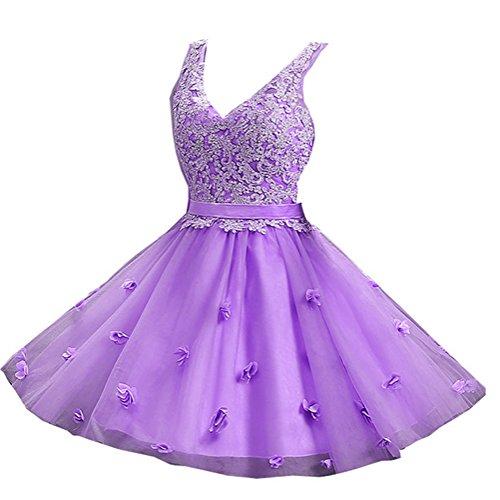 V Lavender Seide Gürtel Organza Bud Damen Ausschnitt Schulter Ballkleid emmani von U56vF