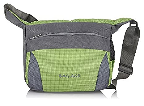 84846ce013 Buy Bag-Age Polyester 10L Green Messenger Bag Online at Low Prices in India  - Amazon.in