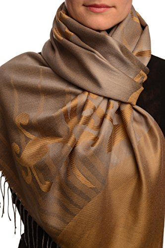 Rising Sun On Brown Grey Pashmina Feel With Tassels - Marron ?charpe Taille Unique - 70cm x 180cm