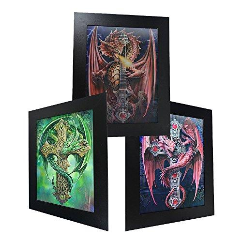 3D Lenticular Framed Fantasy Picture - Cross Dragon 3 Framed Crosses