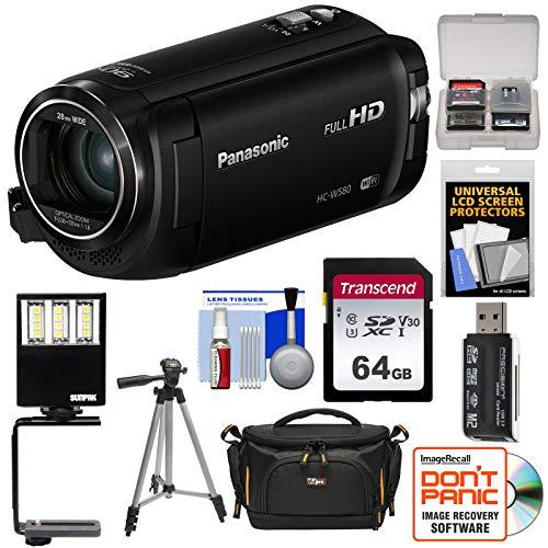 Panasonic HC-W580 Twin Wi-Fi HD Video Camera Camcorder with 64GB Card + Case + Tripod + LED Light + Reader + Kit