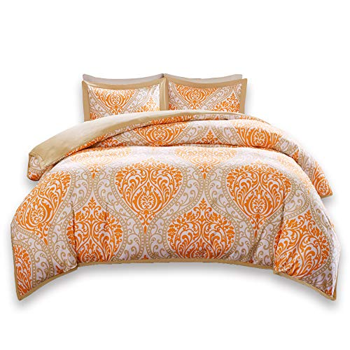 Comfort Spaces Coco 3 Piece Queen Duvet Cover Zipper Closure and Corner Ties Damask Print Decor Ultra Soft Microfiber Luxury Bedding-Set, Full, Orange/Taupe