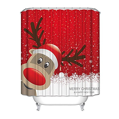 Merry Christmas Fabric (Crystal Emotion Decration colletion Decor,Bath Decor, Waterproof Polyester Shower Curtain with Christmas Reindeer Merry Christmas Happy New Year)