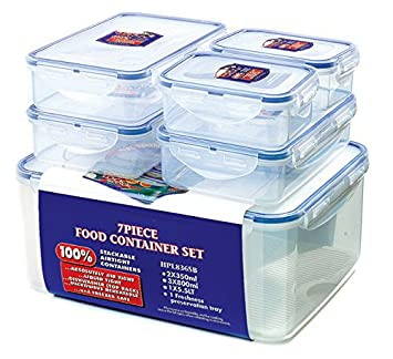 Lock Lock Storage Container ClearBlue Set of 6 Amazoncouk