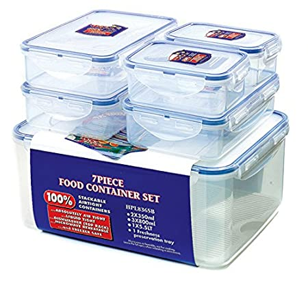 Beau Lock U0026 Lock Storage Container, Clear/Blue, Set Of 6