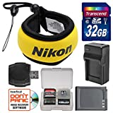 Nikon Coolpix Floating Camera Strap (Yellow) with 32GB Card + Battery + Charger + Kit for AW110, AW120, AW130, W300