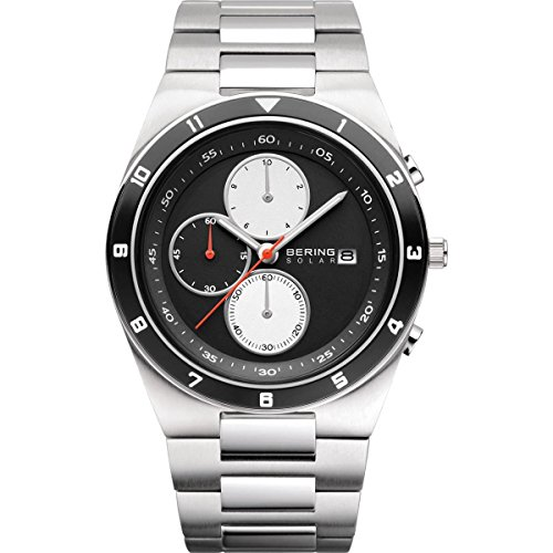 BERING Time 34440-702 Mens Solar Collection Watch with Stainless steel Band and scratch resistant sapphire crystal. Designed in Denmark.