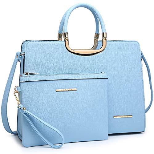 Dasein Women's Handbag PU leather Top Handle Satchel Designer Tote Purse Stripes Laptop Briefcase Bag (19- Light Blue)