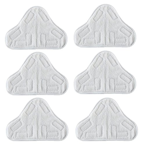 VacFit Steam Mop Pads for Steamboy H20 X5 Steam Duster Washable Triangle Microfiber Cleaning Pads Cloth Pad Vacuum Cleaner Accessories Replacement Pads White 6 pcs by VacFit