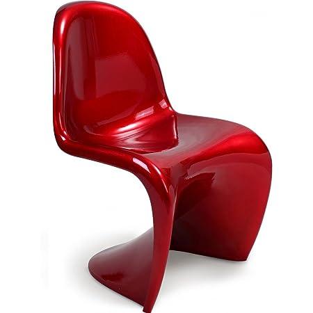 panton chair verner panton style plastic gloss red chili amazon