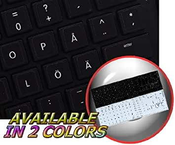 Laptop and Notebook 4Keyboard Swedish Finnish Keyboard Sticker with Yellow Lettering ON Transparent Background for Desktop