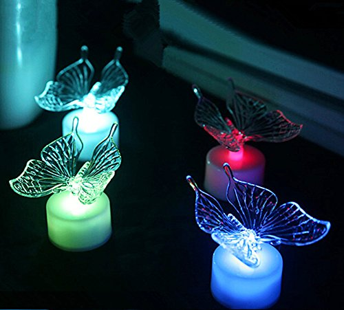 De Spark 10 Pack Acrylic Led Color Changing Night Lights Creative Art Deco Lamps  Butterfly