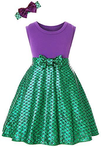 Dormstop Girls Little Mermaid Dress Halloween Ariel Princess Costume Fancy Party Cosplay Costumes 2-3 Years Green]()