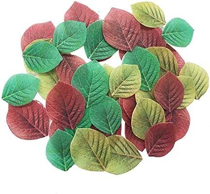 Juego de 30 adornos comestibles para magdalenas, bodas, tartas, cumpleaños, fiestas, decoración de alimentos, varios tamaños y colores Rose Leaf