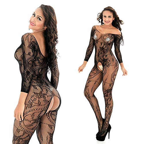 HiSexy Women's Full Body Open Crotch Fishnet Bodystocking Long Sleeve Sheer Sexy Foral Lingerie Bodysuit Black