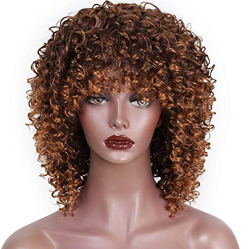 High Temperature Fiber Mixed Synthetic Short Hair Afro Kinky Curly Wigs Women Hair,T4/27/30,14inches