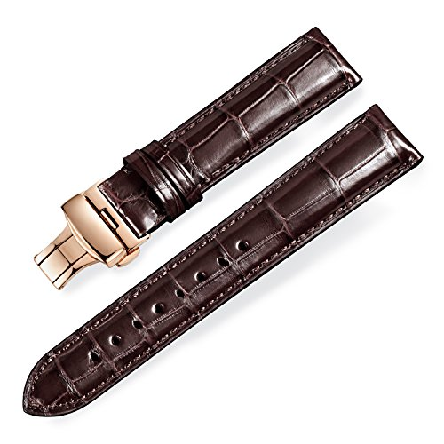 Rolex Omega Watches (Quick Release Alligator Grain Leather Replacement Watch Bands with Rose Gold Deployment Buckle for Men and Women 18mm/19mm/20mm/21mm/22mm/23mm/24mm)