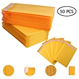 50 PCS 4.72x7.09 Inches Yellow Kraft Bubble Mailers Self Seal Padded Envelopes Shipping Envelopes Mailing Bags