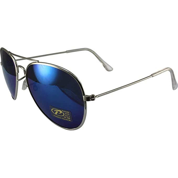d19d82fcc7 Image Unavailable. Image not available for. Color  Classic Pilot Aviator  Sunglasses Chrome Frames and Blue Mirrored Lenses