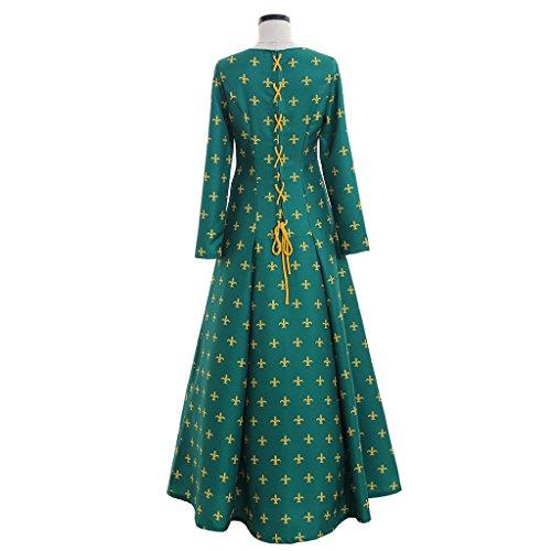da Verde lungo Vestito Stampa Cosplayitem damigella Verde Medievale Donna floreale Costume zAwnCOqtF
