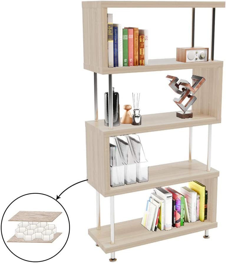 Bestier 5 Shelf Bookcase S-Shaped, Geometric Bookcase Wood Storage Corner Shelves, Z Shaped 5 Tier Vintage Industrial Etagere Bookshelf Stand for Home Office Living Room Decor Books Display