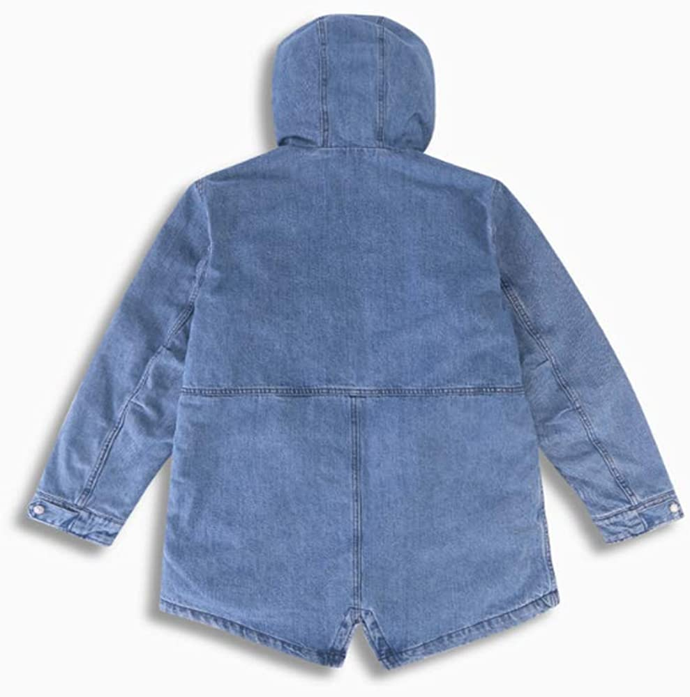 NQFL Giacca di Jeans da Uomo Autunno Inverno Addensare con Cappuccio in Cotone Caldo Zipper Petto di Lunghezza Media Windbreaker Blue weRKT