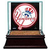 MLB New York Yankees Glass Single Baseball Case with Team Logo Background and Game-Used Dirt