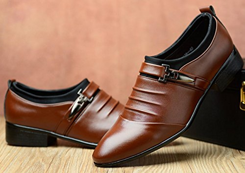 Business Oxford uomo punta brown Scarpe grandi Shoes da Lace sposa Scarpe a casual XWZG Up di da dimensioni gwTqd1gH