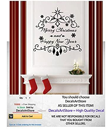 Amazon.com: Christmas Wall Decals Holiday Decor Vinyl Stickers ...