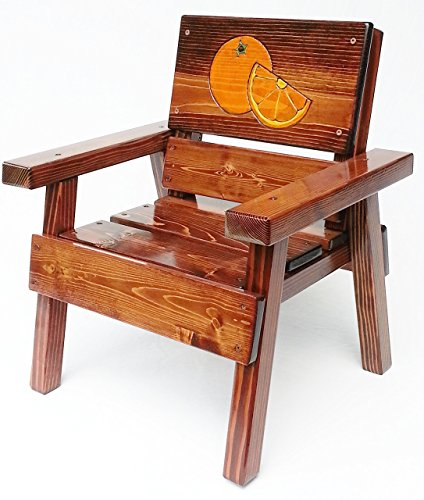 Kids Indoor / Outdoor Wood Chair, Heirloom Gift, Patio or Garden Furniture, Engraved and Painted Oranges