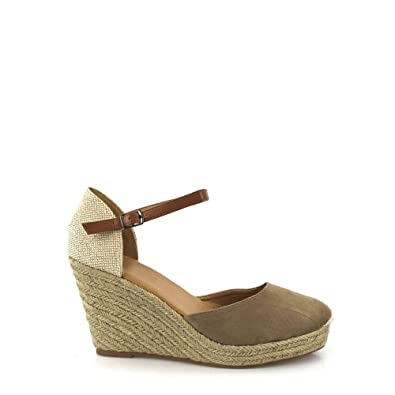 58d4b9a056c Miss Diva Rose Ladies Women High Wedge Ankle Strap Espadrille Closed Toe  Wedge  Amazon.co.uk  Shoes   Bags