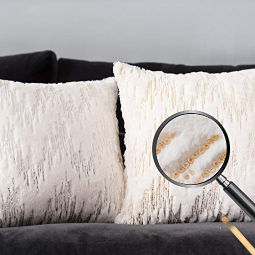 Christmas Decorative Short Plush Faux Fur Throw Pillow Covers Case, Comfortable Stripe Sequins Cushion Cover, Square Pillow Shams for Sofa Couch BedHome Decor (White 18x18 inches 45x45CM) Set of Two