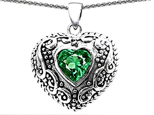 Star K Bali Style Puffed 7mm Heart Simulated Emerald Pendant Necklace Sterling Silver (Star Silver Sterling Puffed)