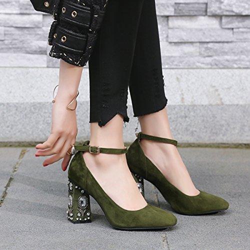 JIEEME Ladies Sexy Block Heels Sheep Suede Crystal Back Green High Heels Party Women Court Green q6tHd