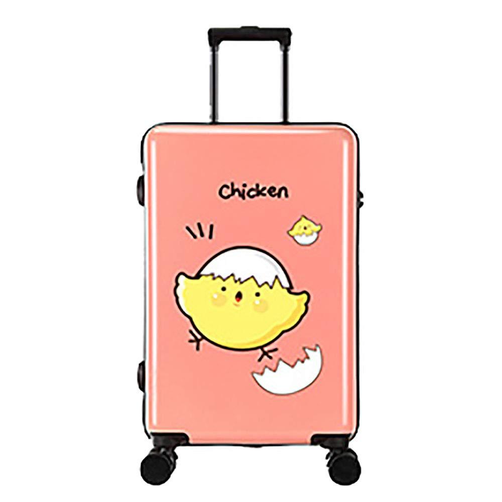 トロリー荷物ユニバーサルホイール女性20インチのパスワード荷物小さな新鮮な漫画の子供のトロリーケース B07KTZ6CF8 Pink