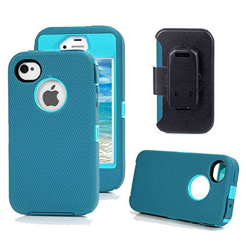 iPhone 4s Case, Harsel Defender Series Heavy Duty Tough Rugged High Impact Armor Hybrid Military with Belt Clip Built-in Screen Protector Case Cover for Apple iPhone 4s /4g (Teal / Light Blue) 4g Protector Case Cover
