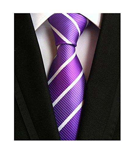 Men Repp Soft Lilac White Silk Tie Wide Stripe Woven Working Summer Suit Necktie ()