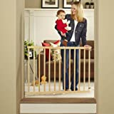 North States Tall Stairway Swing Gate 28''-42'', Top of Stairs Baby Gate, Includes Mounting Kit, Natural Wood