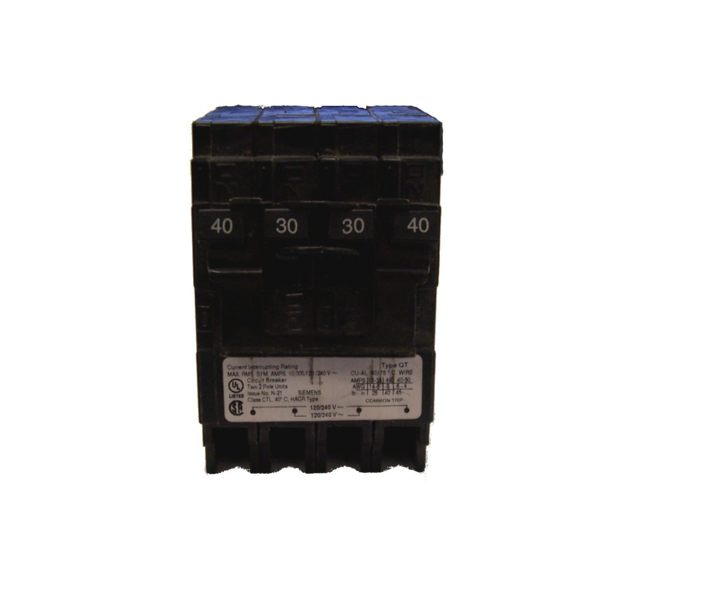 Siemens Q24030CT2 40Amp Double Pole 30Amp Quadplex Circuit Breaker
