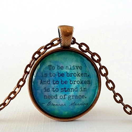Grace Quote Glass Pendant Necklace (Grace Pendant Necklace)