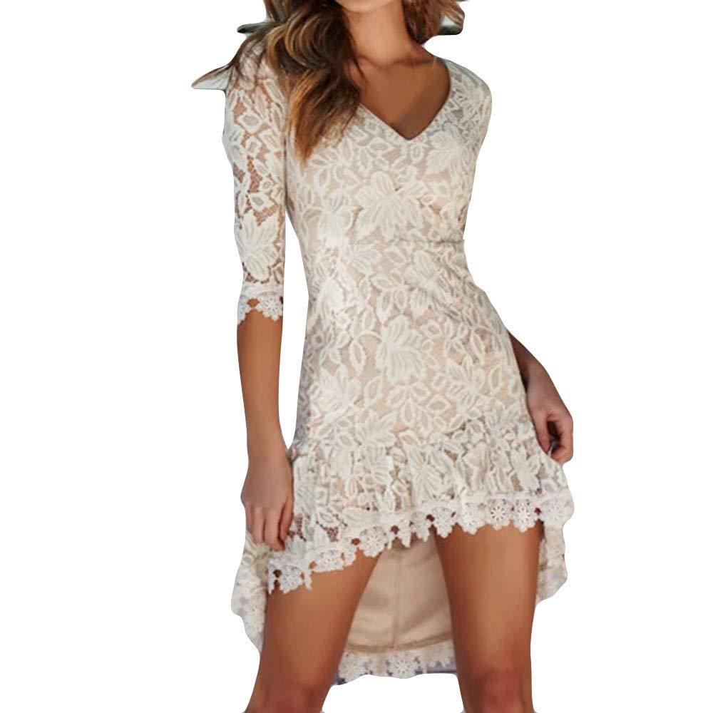 Zolimx Frauen Mode Spitzenkleid Damen Party Halbarm Kleid, Unregelmäßiges Kleid mit V-Ausschnitt und kurzen Ärmeln