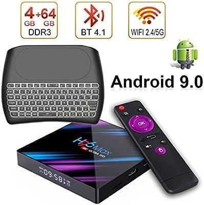 Android 9.0 TV Box H96 MAX con Teclado inalámbrico, 4 GB DDR3 + 64 GB EMCC,