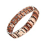 ALPS Fashion Healthy Unisex Magnetic Pure Copper Double Row Therapy Bracelet Pain Relief for Arthritis